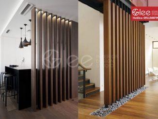 vách ngăn bằng gỗ phòng khách gva10-2